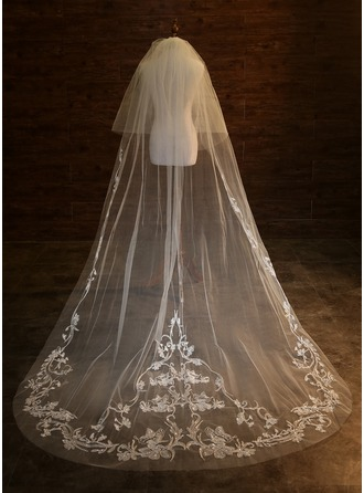 Two-tier Lace Applique Edge Chapel Bridal Veils With Applique
