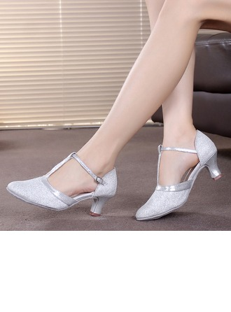 Women's Sparkling Glitter Heels Ballroom With T-Strap Dance Shoes