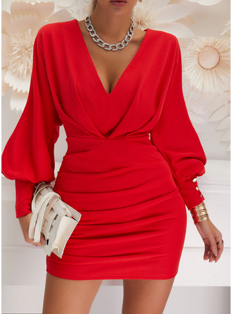 Solid Bodycon V-Neck Long Sleeves Lantern Sleeve Midi Elegant Party Dresses