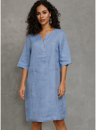Linen Knee Length Dress
