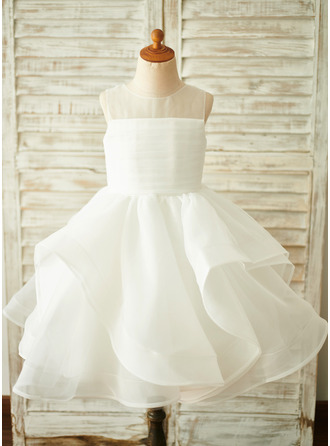 Knee-length Flower Girl Dress - Organza Sleeveless Scoop Neck With V Back