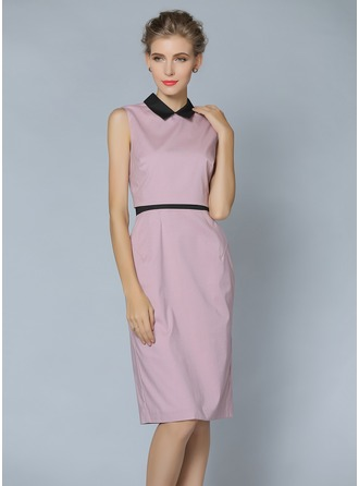 Polyester/Cotton With Solid Color Knee Length Dress