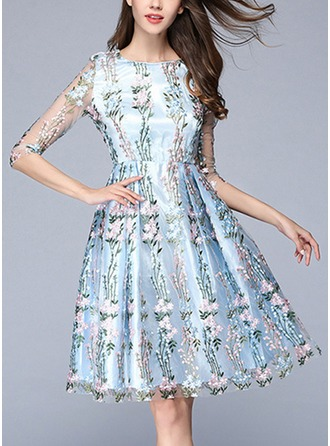 Polyester With Mesh/Embroidery/See-through Look Knee Length Dress