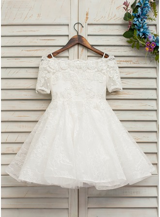 Knee-length Flower Girl Dress - Tulle Lace Short Sleeves Bateau With Beading