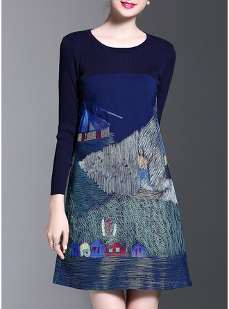 Polyester/Knitting With Embroidery Above Knee Dress