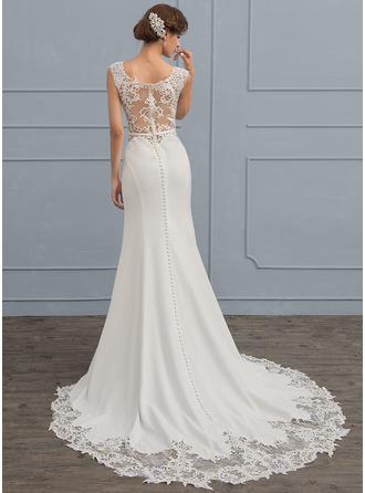 Trumpet/Mermaid Scoop Neck Court Train Satin Wedding Dress