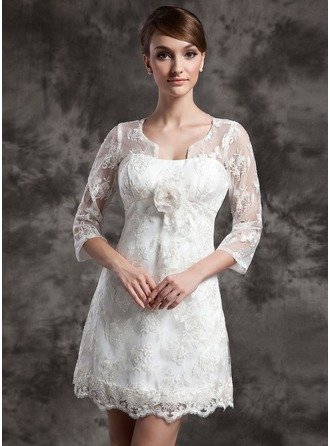 A-Line/Princess Scoop Neck Short/Mini Charmeuse Lace Wedding Dress With Flower(s)