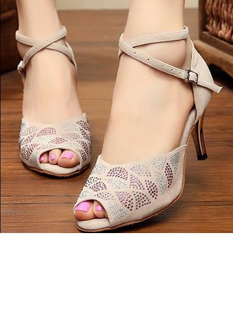 Women's Suede Sandals Pumps Latin Party With Rhinestone Dance Shoes