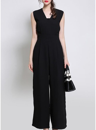 Polyester With Resin solid color Jumpsuits