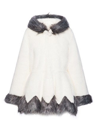 Faux Fur Long Sleeves Patchwork Blend Coats ()
