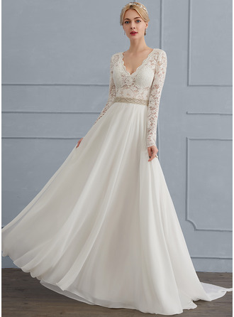 A-Line/Princess V-neck Court Train Chiffon Wedding Dress With Beading