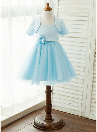 A-Line/Princess Knee-length Flower Girl Dress - Satin Tulle Sleeveless Square Neckline With Flower(s) (Wrap included)