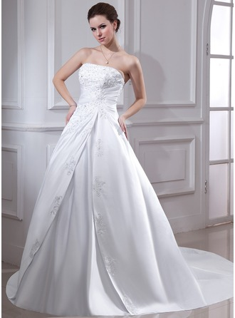 Ball-Gown Strapless Chapel Train Satin Wedding Dress With Ruffle Lace Beading