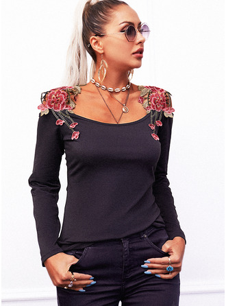 Regular Cotton Blends Cold Shoulder Floral Lace Tight Blouses