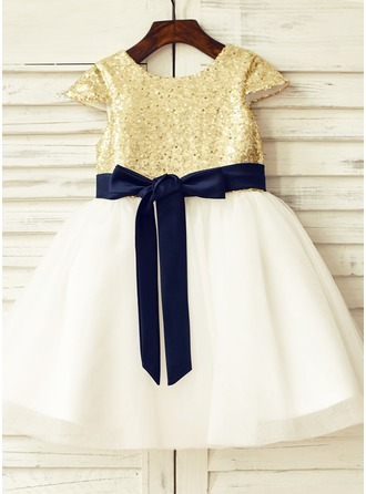 A-Line/Princess Knee-length Flower Girl Dress - Tulle/Sequined Short Sleeves Scoop Neck With Sash/Sequins