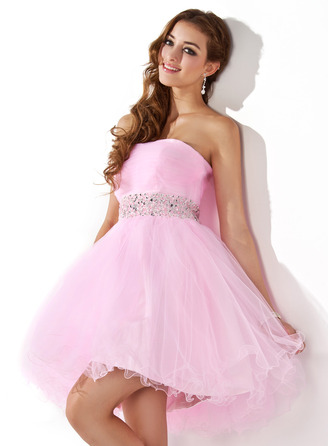 A-Line/Princess Sweetheart Short/Mini Tulle Prom Dress With Beading Sequins