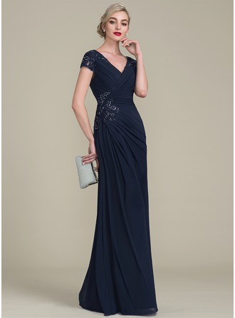 A-Line/Princess V-neck Floor-Length Jersey Evening Dress With Beading Sequins