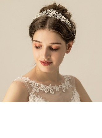 Ladies Beautiful Alloy/Freshwater Pearl Tiaras (Sold in single piece)