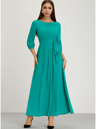 Polyester With Resin solid color/Crumple Maxi Dress