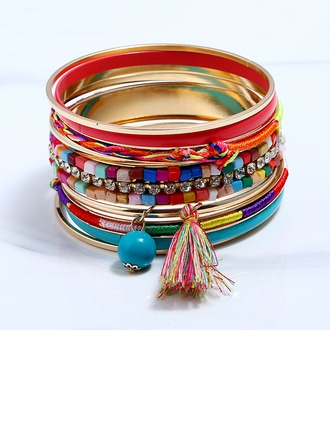 Mode Alliage Strass avec Glands Strass Dames Bracelets de mode (Lot de 9)