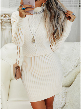 Solid High Neck Long Sleeves Casual Dresses
