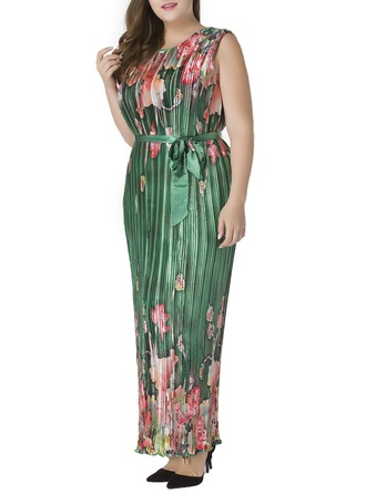 Satin With Print Maxi Dress