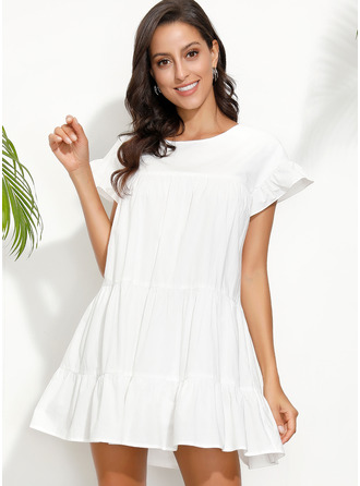 Polyester With Ruffles/Solid Above Knee Dress