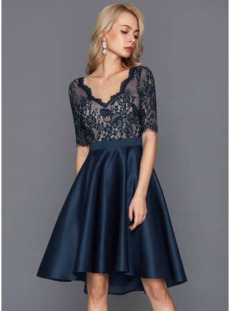 Forme Princesse Col V Asymétrique Satiné Robe de cocktail