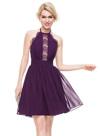 A-Line/Princess Halter Knee-Length Chiffon Cocktail Dress