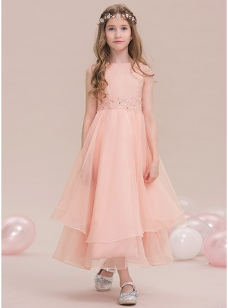 Scoop Neck Ankle-Length Organza Junior Bridesmaid Dress With Beading Sequins