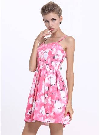 Polyester/Cotton With Print Mini Dress