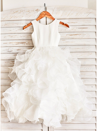 Floor-length Flower Girl Dress - Organza Sleeveless Scoop Neck