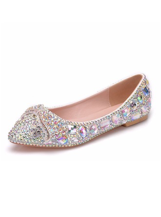 Women's Leatherette Flat Heel Closed Toe Pumps Sandals With Crystal