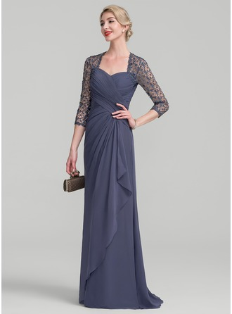 A-Line/Princess Sweetheart Sweep Train Chiffon Lace Evening Dress With Cascading Ruffles