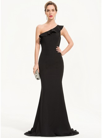 Trumpet/Mermaid One-Shoulder Sweep Train Stretch Crepe Evening Dress