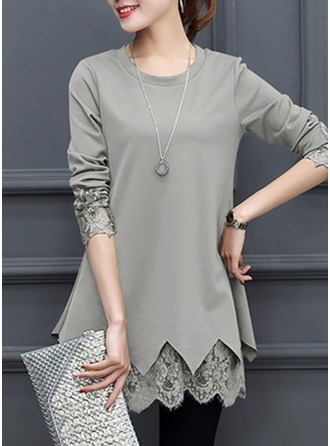 Plain Long Sleeves Cotton Round Neck Casual Blouses Bluzlar