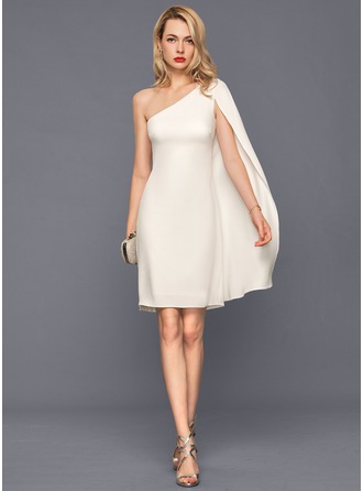 Sheath/Column One-Shoulder Knee-Length Stretch Crepe Wedding Dress