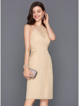 Sheath/Column Scoop Neck Knee-Length Chiffon Cocktail Dress With Ruffle Bow(s) Split Front