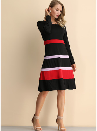 Cotton Blends With Color-block Knee Length Dress