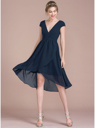 Col V Asymétrique Mousseline Robe de cocktail