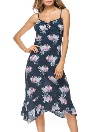 Cotton With Print Midi Dress