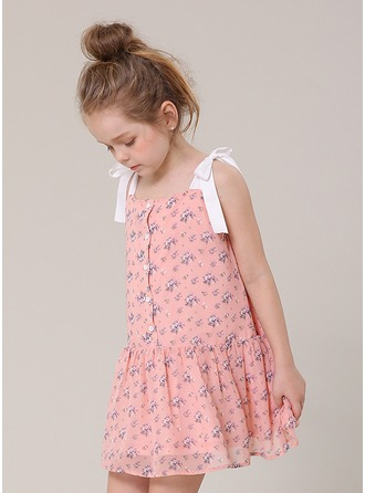 A-Line/Princess Short/Mini Flower Girl Dress - Polyester/Cotton Blends Sleeveless Straps