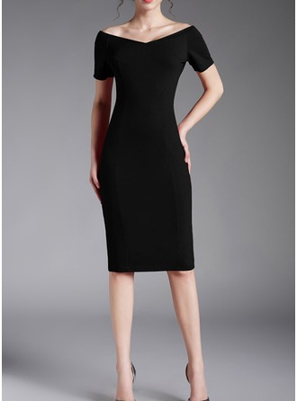 Knitting With Resin solid color Knee Length Dress