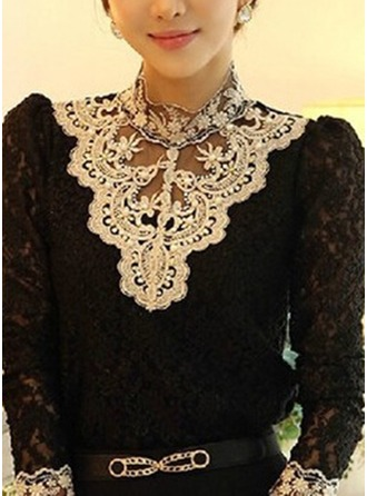 Embroidery Long Sleeves Cotton High Neck Casual Blouses Blouses