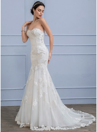 Trumpet/Mermaid Sweetheart Court Train Lace Wedding Dress With Beading Sequins