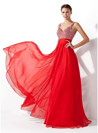 V-neck Floor-Length Chiffon Prom Dresses With Ruffle Beading Sequins
