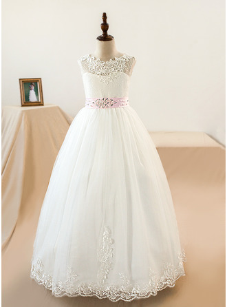 Ball Gown Floor-length Flower Girl Dress - Tulle/Lace Sleeveless Scoop Neck With Sash/Appliques/Bow(s) (Petticoat NOT included)