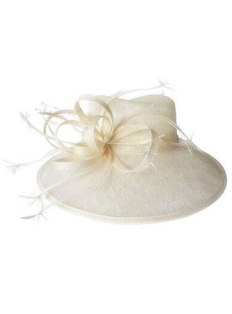 Dames Glamour Batiste avec Feather Chapeau melon / Chapeau cloche