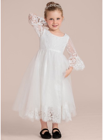 Ankle-length Flower Girl Dress - Lace 1/2 Sleeves Scoop Neck