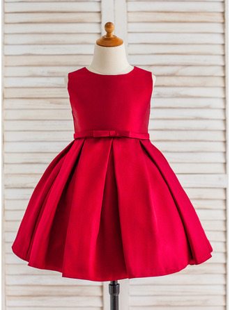 A-Line/Princess Knee-length Flower Girl Dress - Satin Sleeveless Scoop Neck With Ruffles